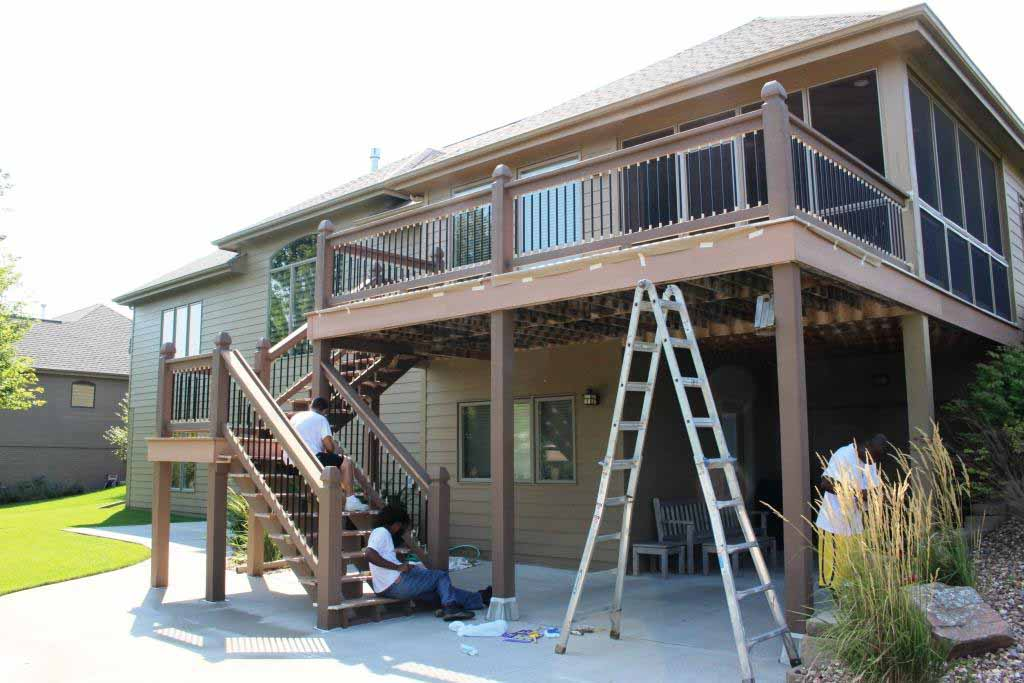 Trex Deck with Real Wood Railing & Support Beams that Require Maintenance