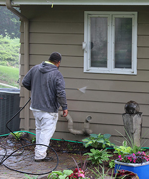High-Pressure Power Washing prior to Exterior House Painting