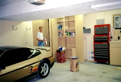 Garage is Finished and Painted in Oil-Based Trim Paint, Latex-Based Wall Paint