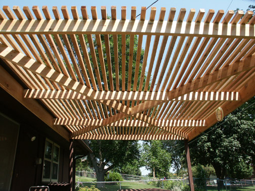 Pergola rebuilt stronger with cross bracing to increase strength