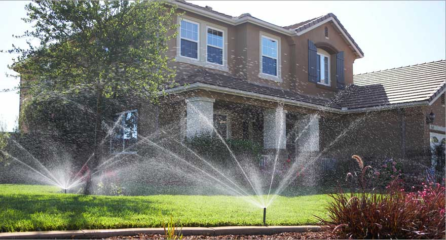 Sprinklers should Not hit the house, even in Windy Conditions